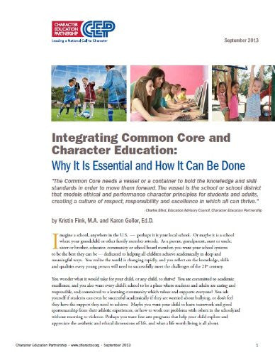Integrating the Common Core and Character Education-Digital Download