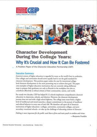 Character Education During the College Years: Why It's Crucial and How It Can Be Fostered-Digital Download