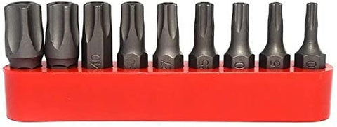 RAM-PRO 9Pc Torx Star 5 Point, Security Tamper Proof, Driver Bit Set – T10, 15,20,25,27,30,40,45,50 – Multifunction Damage/Shear Resistant Hollow Torque Kit