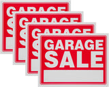 Garage Sale Sign Red Yard Sales Street Signs by Ram-Pro - 9 x 12 inch Plastic Banner Labels for Winter, Christmas, Black Friday, Holiday Sale Events (Pack of 4)