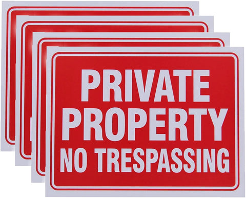 Vanitek 4 Pack Private Property No Trespassing Sign 9 x 12 Inch