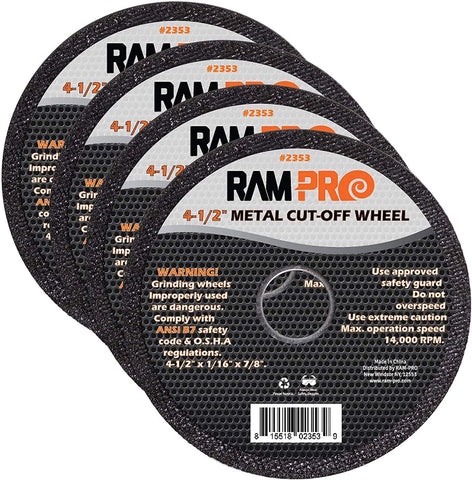 Ram-Pro 4-1/2 Inch Metal Cut-Off Wheel Blades | Abrasive Arbor Grinder Disc Set Ideal for Cutting, Grooving, Sanding and Trimming Ferrous Metal & Steel (50 Pack).