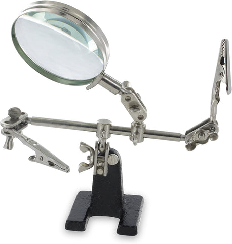 Ram-Pro Helping Hands Magnifier Glass Stand with Alligator Clips – 4x Magnifying Lens, Perfect for Soldering, Crafting & Inspecting Micro Objects