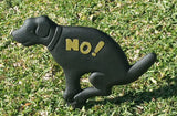 Ram-Pro No Pooping Naughty Dog Black Yard Sign with Stake Cast Iron