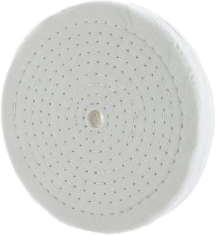 "Drixet Rigid 8 Inch Extra Thick Cotton Treated Spiral Sewn Buffing/Polishing Wheel with a 1/2"" Center Arbor Hole, (80 Ply)"