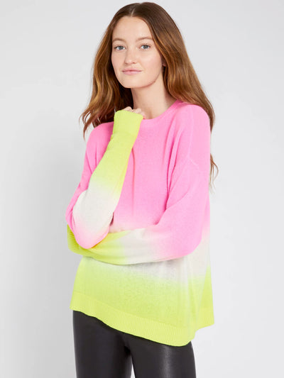 Alice + Olivia - Gleeson Dip Dye Long Sleeve Pullover in Neon Pink/White/Neon Yellow