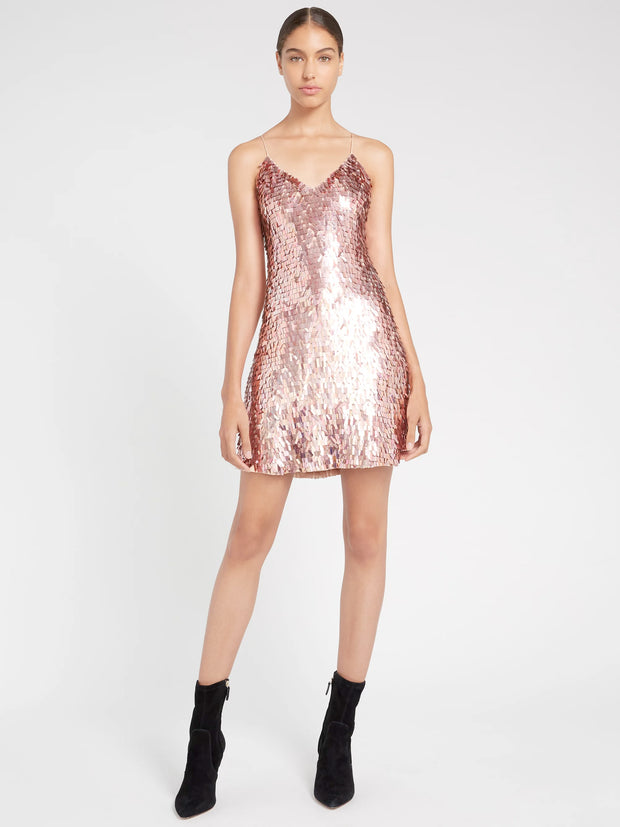 Alice + Olivia - Contessa Embellished V Neck Dress in Iridescent Pink