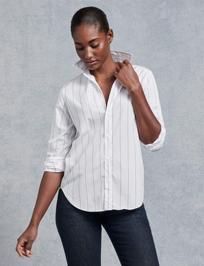 Frank & Eileen - Women's Button Down in White with Thin Red Stripe