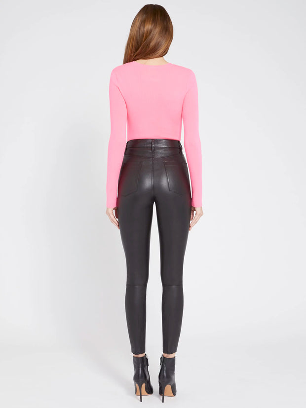 Alice + Olivia - Ciara Longsleeve Cropped Pullover in Neon Pink