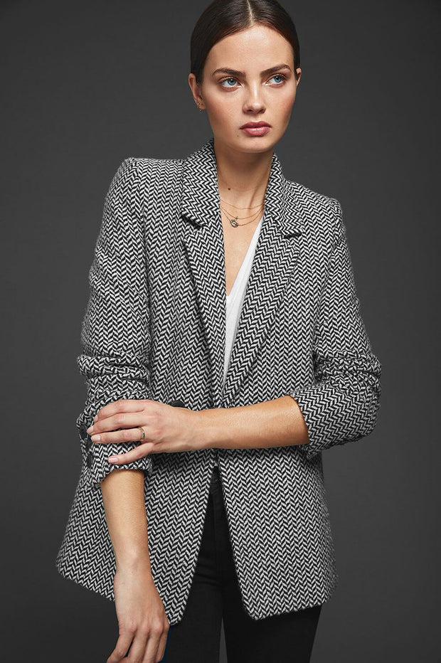 ANINE BING - Fishbone Blazer in Black and Off-White
