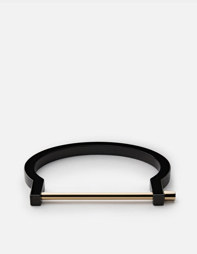 Miansai - Modern Screw Cuff, Jet Black w/ Gold Bar
