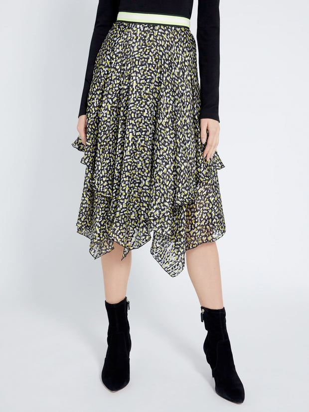 Alice + Olivia - Tarina Handkerchief Midi Skirt in Neon Yellow/Multi