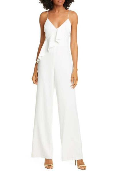 Alice + Olivia - Keeva Ruffle Jumpsuit in Off White