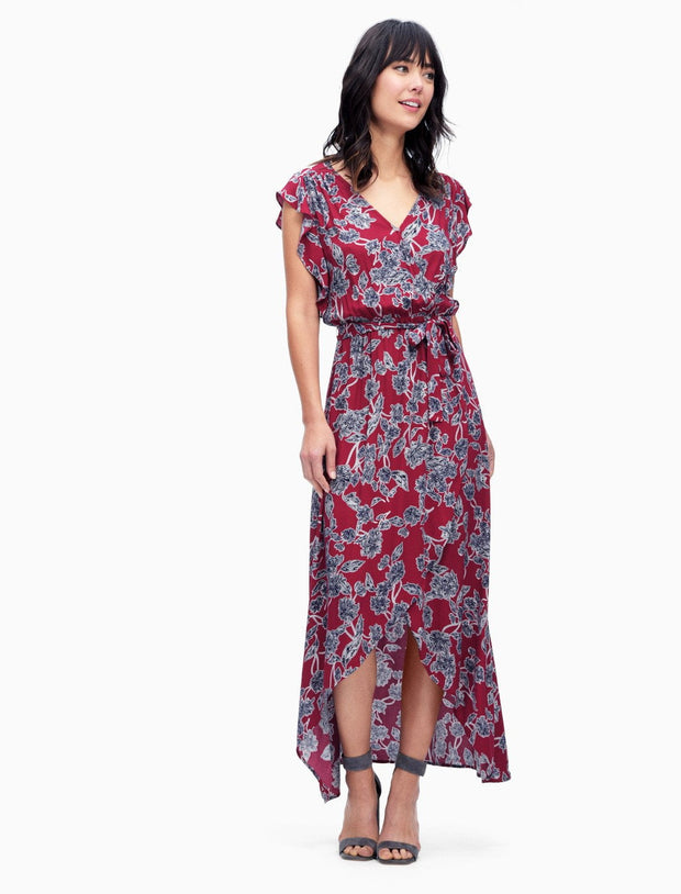 Splendid Splendid - Wrap Dress Style Beet Red at Blond Genius - 3