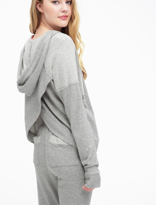Splendid Crossback Zip Hoodie in Heather Grey