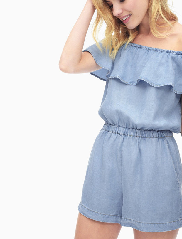 Splendid - Off Shoulder Romper Light Wash