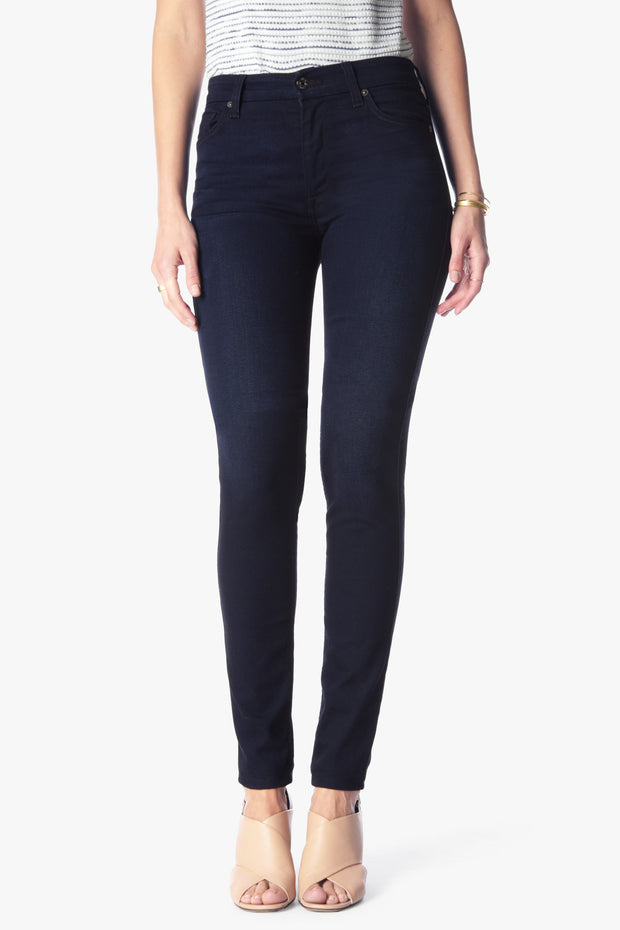 7 For All Mankind - High Waist Skinny in Blue Black River Thames