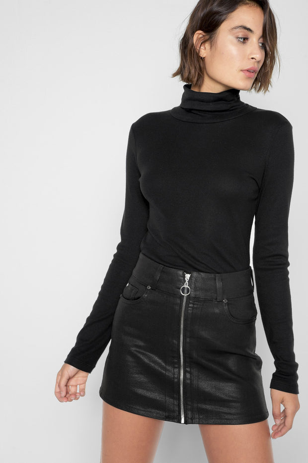 7 For All Mankind - Zip Front Mini Skirt in Black