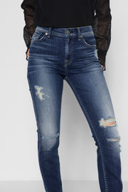 7 For All Mankind - Ankle Skinny with Destroy and Scallop Hem in Liberty