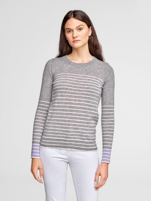 White + Warren - Essential Striped Crewneck White Multi