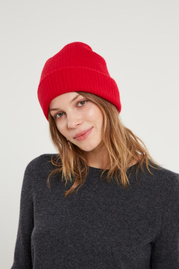 White + Warren - Plush Rib Beanie in Fire