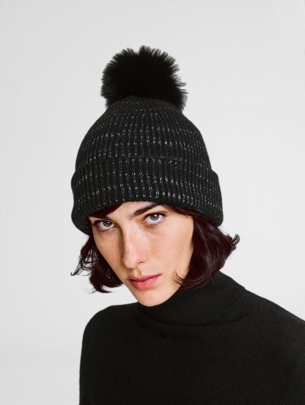White + Warren - Fur Pom Pom Spacedye Rib Beanie Black Spacedye