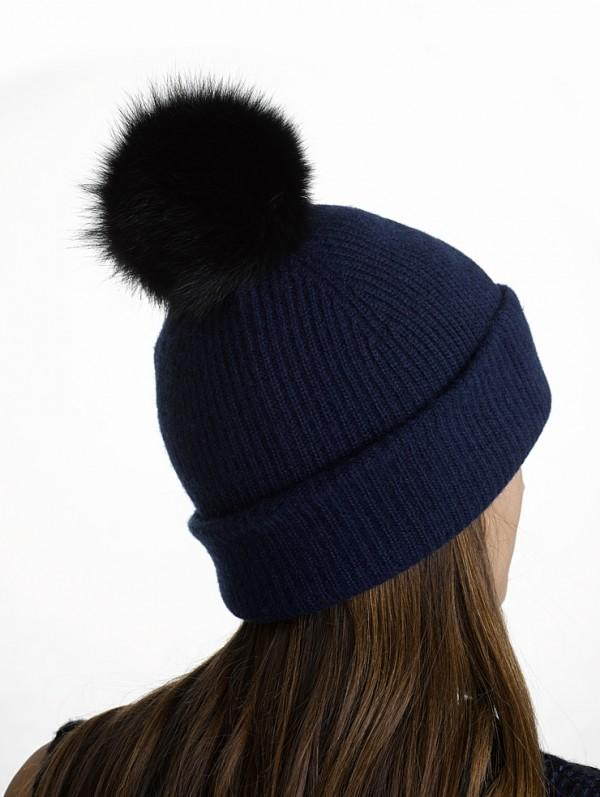 White + Warren - Fur Pom Pom Rib Beanie