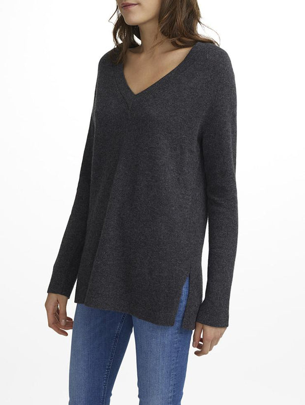 White + Warren White + Warrem - Cashmere Side Slit Vneck Charcoal Heather at Blond Genius - 1