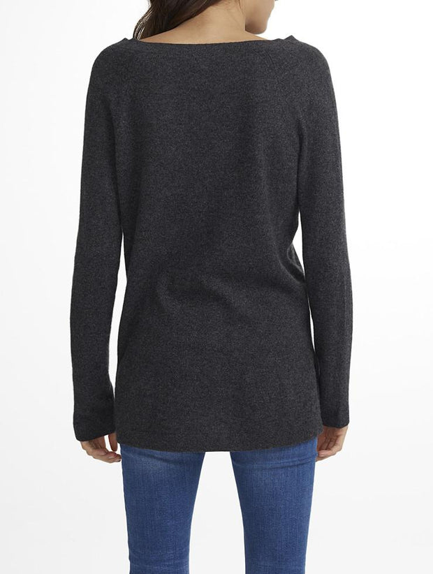 White + Warren White + Warrem - Cashmere Side Slit Vneck Charcoal Heather at Blond Genius - 2