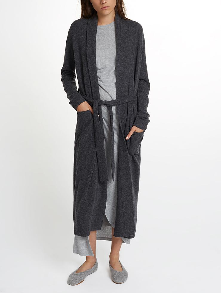 White + Warren - Luxe Robe Charcoal Heather