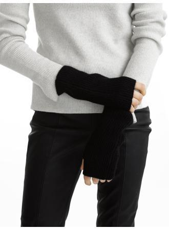 White + Warren - Plush Rib Arm Warmer Black