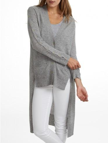 White + Warren - Hi Lo Button Cardigan Heather Grey