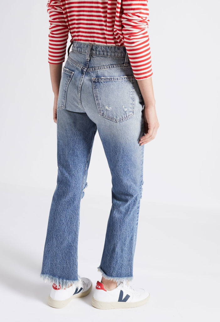 Current Elliott - The High Waist Kick Jean in Colette Destroy w/ Uneven Hem