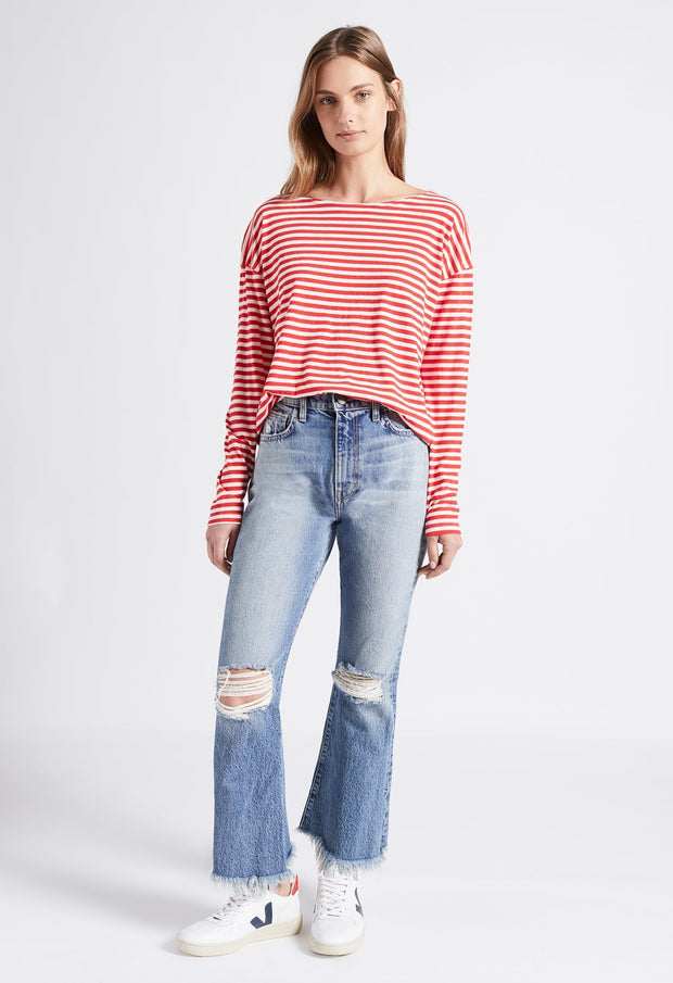 Current Elliott - The Brenton Tee Red White Stripe