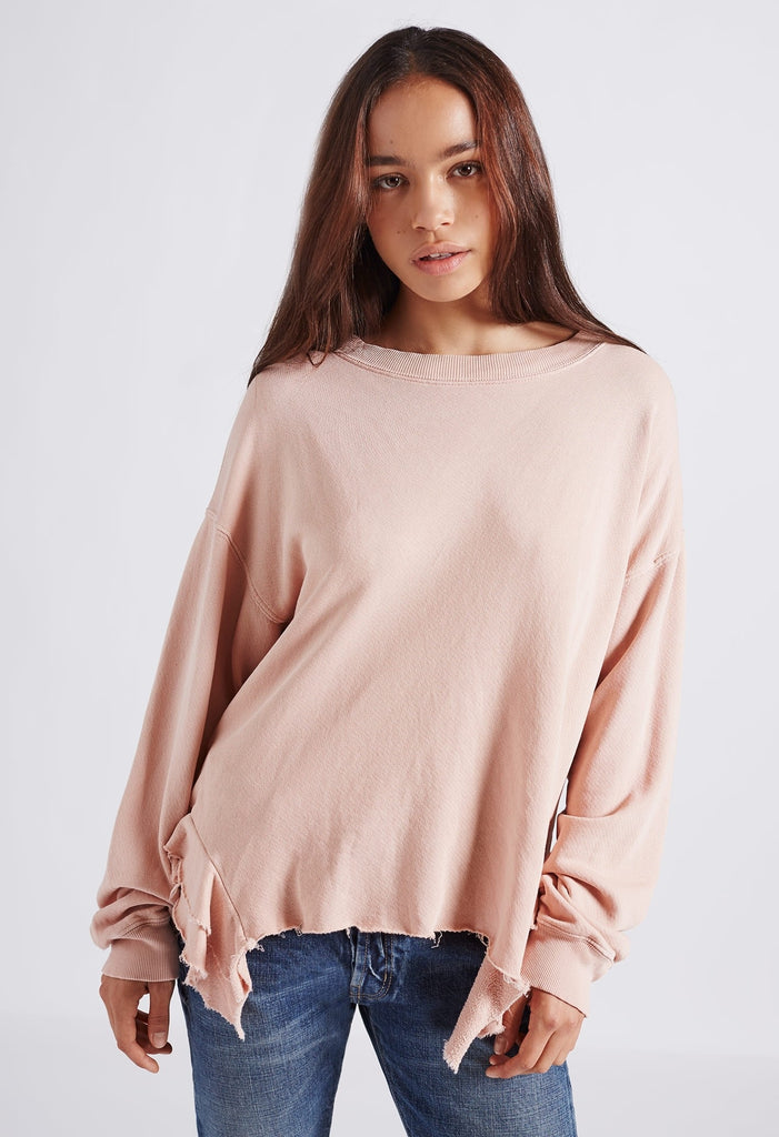 Current Elliott - The Slouchy Ruffle Sweatshirt in Misty Rose Destroy