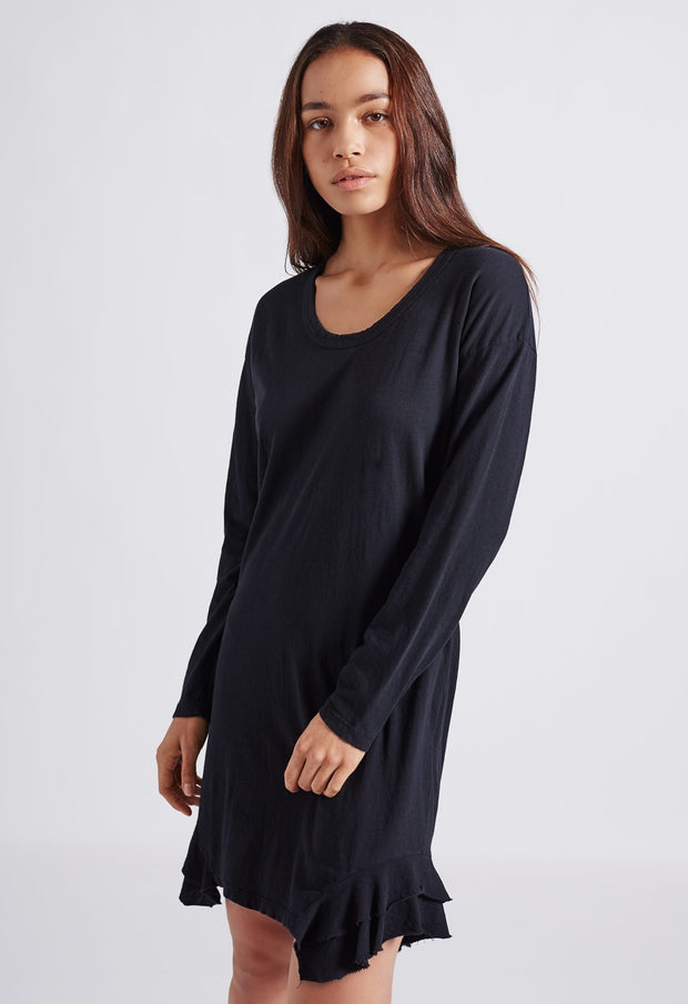 Current Elliott - The Tier LS Dress in Black With Destroy