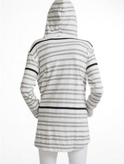 White +Warren - Hooded Throw On Grey Stripe