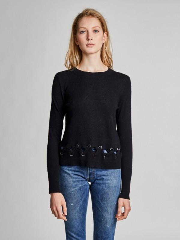White + Warren - Laced Scallop Hem Crewneck Black