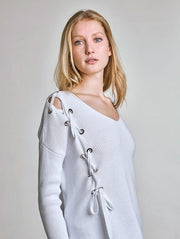 White + Warren- Asymmetric Laced Vneck