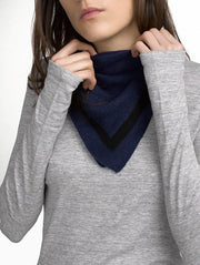 White + Warren - Tipped Neck Scarf Admiral/Black