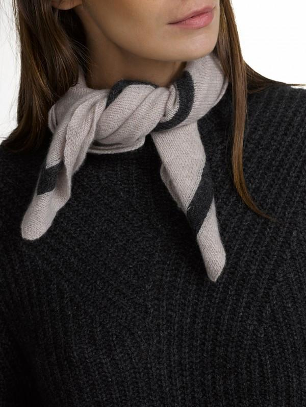 White + Warren- Tipped Neck Scarf Truffle/Charcoal