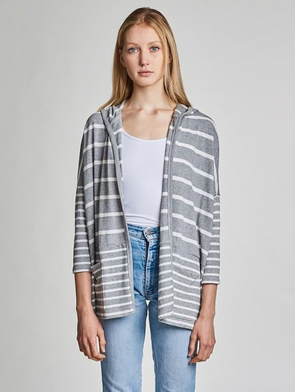 White + Warren- Open Hooded Cardigan 17191 Stripe