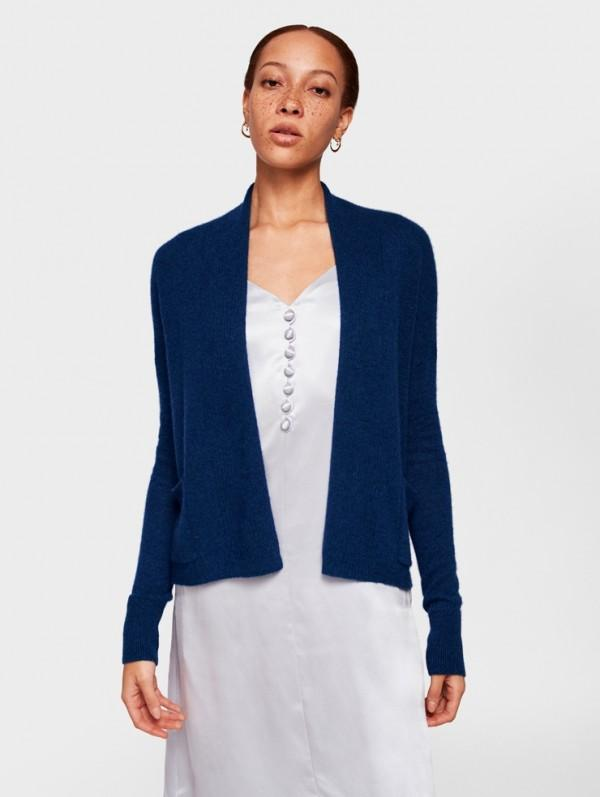 White + Warren - Pocket Open Cardigan Deep Teal Heather