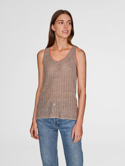 White+Warren - Tipped Ribbed Tank in Coffee with Coral