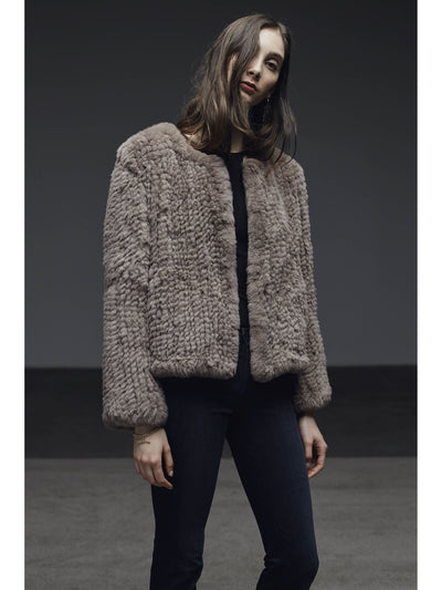 H-Brand H-Brand- Rabbit Fur Cropped Jacket Elle Port at Blond Genius - 1