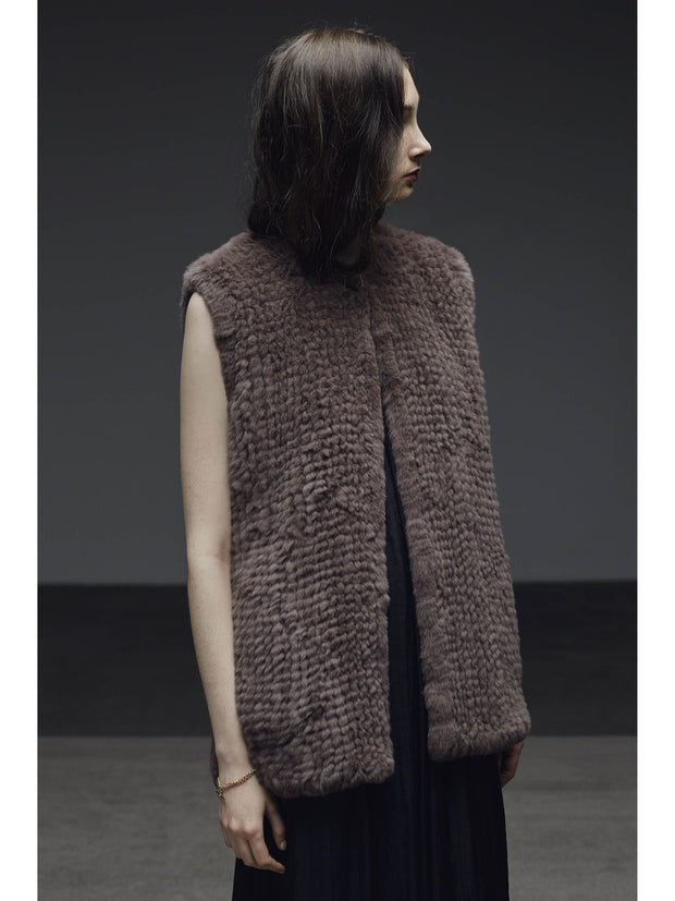 H-Brand Hand Knitted Rabbit Fur Long Vest Libby Port at Blond Genius - 1