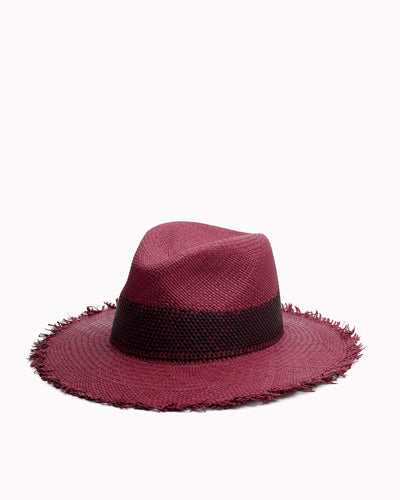 Rag&Bone - Frayed Edge Panama Hat in Berry