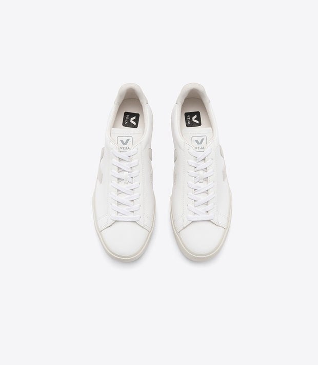 Veja - CAMPO CHROMEFREE LEATHER White Sneakers with Natural V