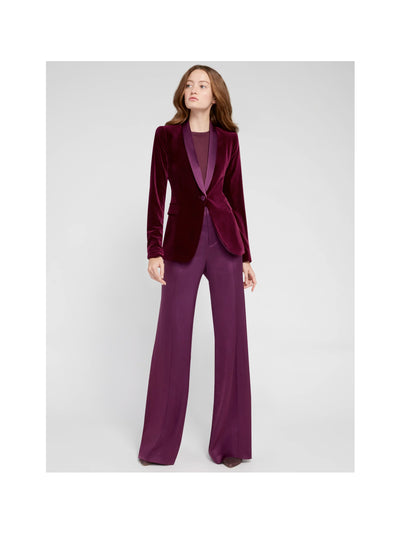 Alice + Olivia - Macey Fitted Strong Shoulder Velvet Blazer in Merlot