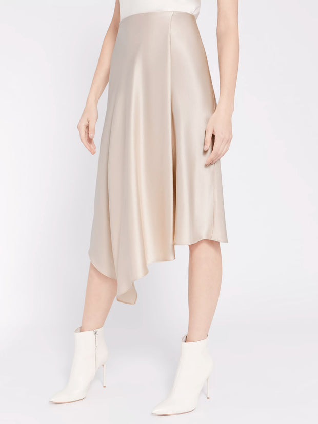 Alice + Olivia - Jayla Drape Slit Skirt in Taupe